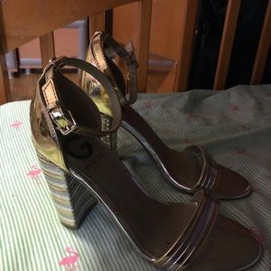 Guess Gold & Silver High Heel Sandals Size 6.5.